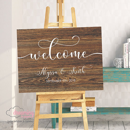 Wedding Welcome Sign - Wood Background