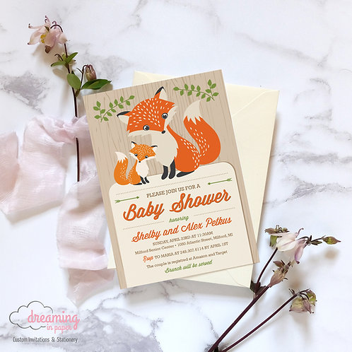 Mama and Baby Fox Baby Shower Invitation - Gender Neutral!