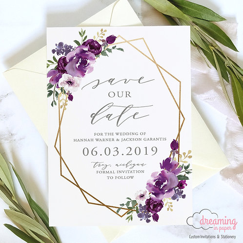 Purple Watercolor Floral Gold Geometric Save the Dates