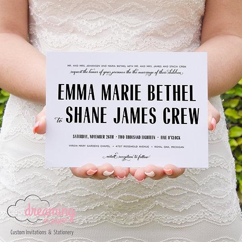 Modern Radiant Black and White Wedding Invitation Set