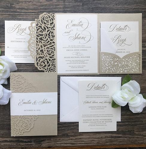 Shimmering Champagne Gold Mozart Laser Cut Pocket Wedding Invites