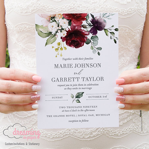 Botanical Marsala Burgundy Blush Violet Floral Wedding Invitations 250