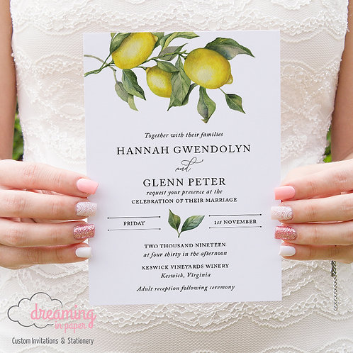 Botanical Lemon Drop Wedding Invitations 264