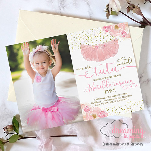 Tutu Excited turning Two Birthday Invitations with Photo
