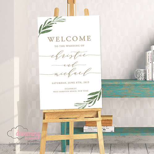 Greenery and Gold Wedding Welcome Sign 073