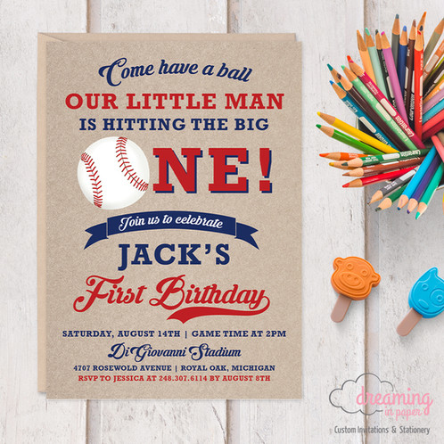 vintage baseball theme birthday invitation