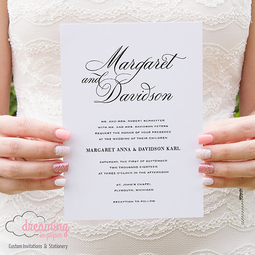 Classic Simple and Elegant Script Wedding Invitation - Bodega Schneider