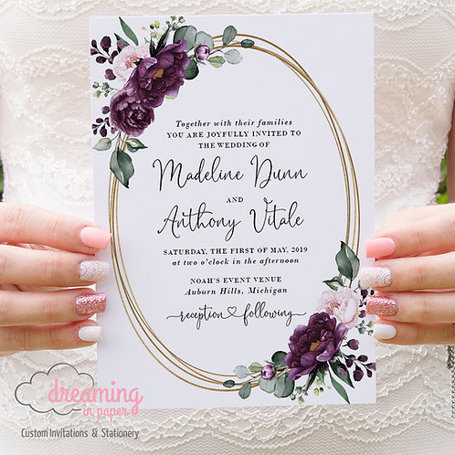 Gold Overlapping Ovals Deep Velvet Purple Wedding Invitations 292