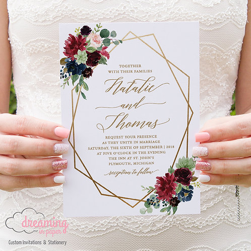 Boho Navy Burgundy Geometric Wedding Invitation - Romantic Adelecia