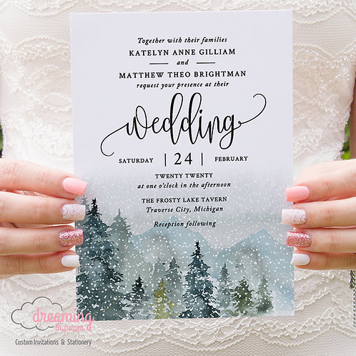 Rustic Mountain Forest Watercolor Winter Wedding Invitations 313