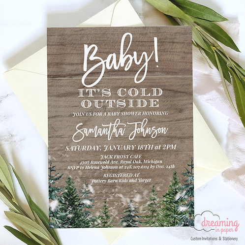 Rustic Pine Baby It's Cold Outside Baby Shower Invitations