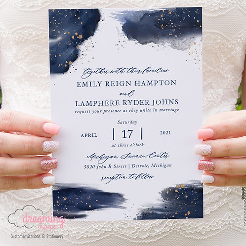 navy watercolor wedding, night sky wedding, gold navy wedding, wedding invitations, brush stroke invite, celestial wedding
