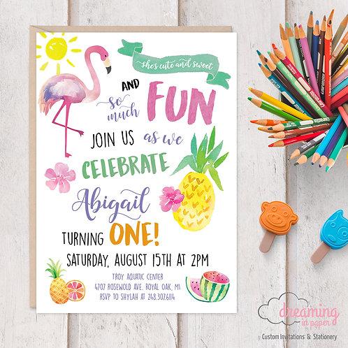 Flamingo Pineapple Tropical Summer Birthday Invitations