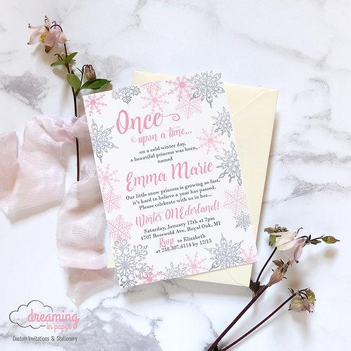 Pink Snow Princess Fairytale Silver Sparkle Snowflakes Birthday Invitation