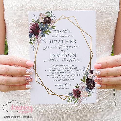 Navy and Burgundy Boho Floral Geometric Wedding Invitation Set 114