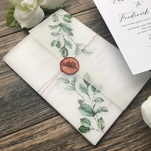 Custom Designed Printed Vellum Invitation Wrappers