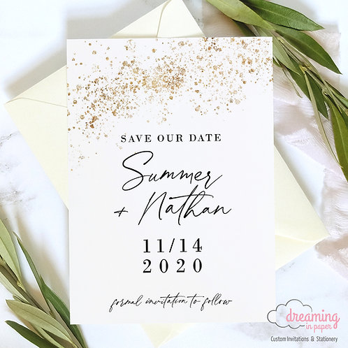 modern save the date, simple save the date, black gold save the date, black gold wedding, gold save the date, gold invite
