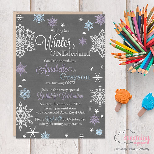 Winter ONEderland Twins Birthday Invitation - Chalkboard and Snow