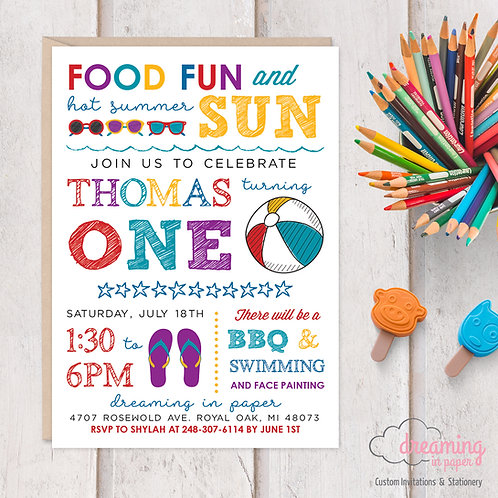 Summer Fun BBQ Beach Pool Birthday Invitation