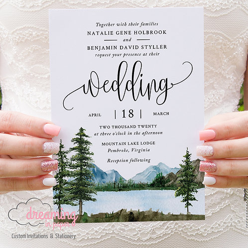 glamping wedding, wedding invites, rustic wedding, pine tree wedding, lake, mountains