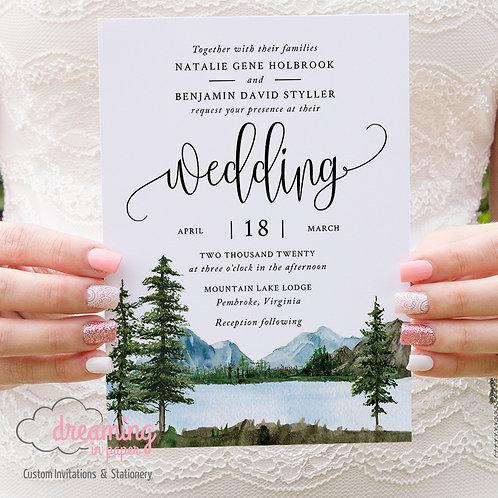 glamping wedding, wedding invites, rustic wedding, pine tree wedding, lake, mountains