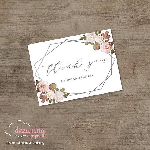 Blush & White Vintage Roses Geometric Terrarium Wedding Thank You Cards 004