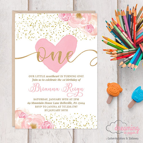 Sweetheart Valentine Pink Gold First Birthday Invitation