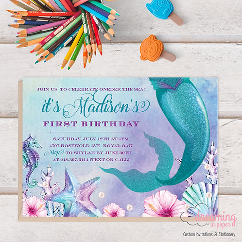 Magical Mermaid Under the Sea Birthday Invitation
