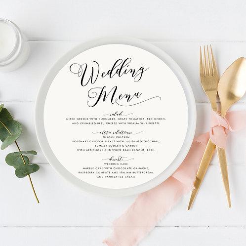 Modern Script Wedding Menu Card