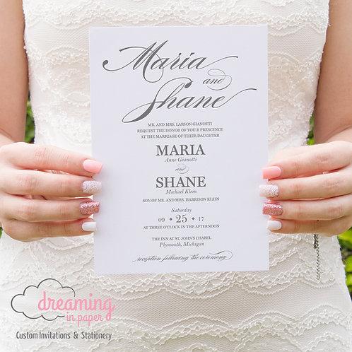Classic Burgues Script Wedding Invitation Set