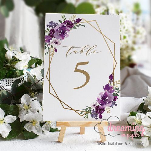 Purple Floral Geometric Table Numbers
