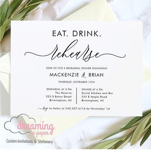 Eat Drink Rehearse Mod Rehearsal Dinner Invitation