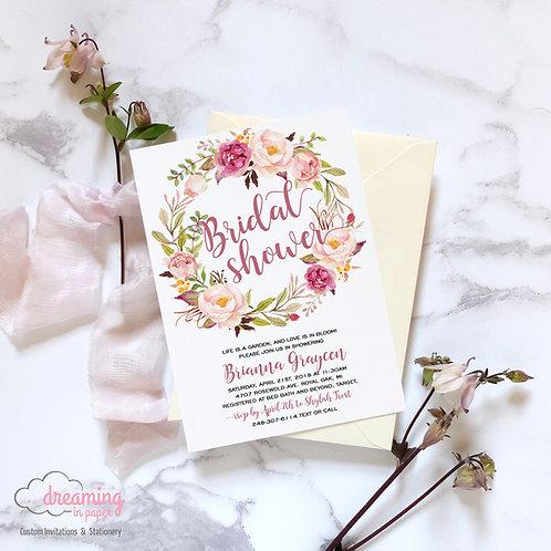 Elegance Floral Wreath Pink Burgundy Shower Invitation