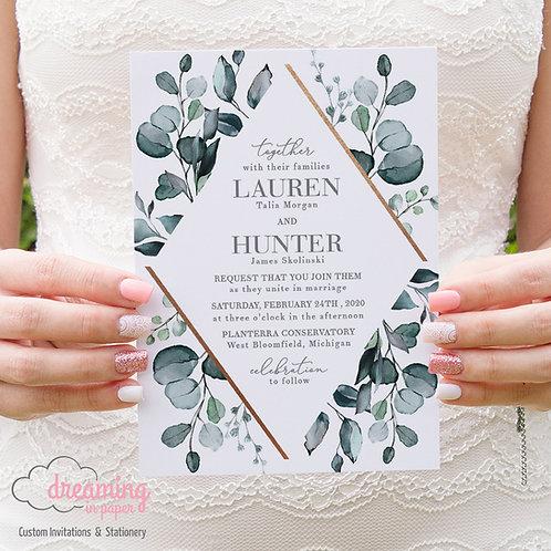 Copper Diamond Teal Greenery Lisima Wedding Invitations 263