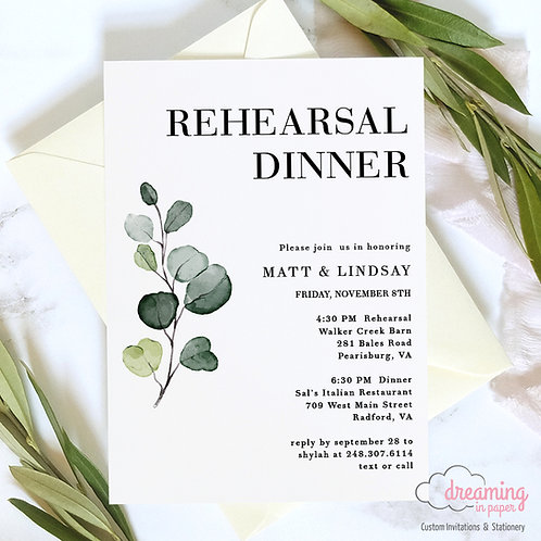 Greenery Sprig Modern Rehearsal Dinner Invitation