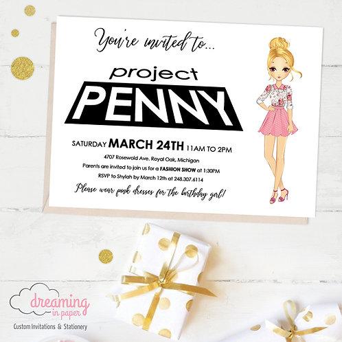 Project Runway Fashion Girl Birthday Invitation