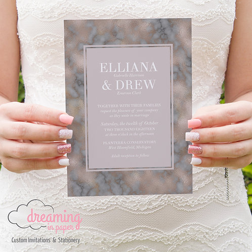 Mauve Blush Gray Modern Border Wedding Invitation Set