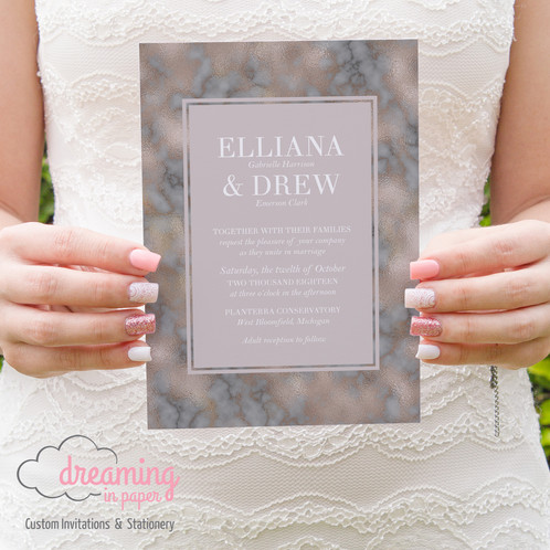 Wedding Invitation Mauve Blush Pink Grey Modern Border