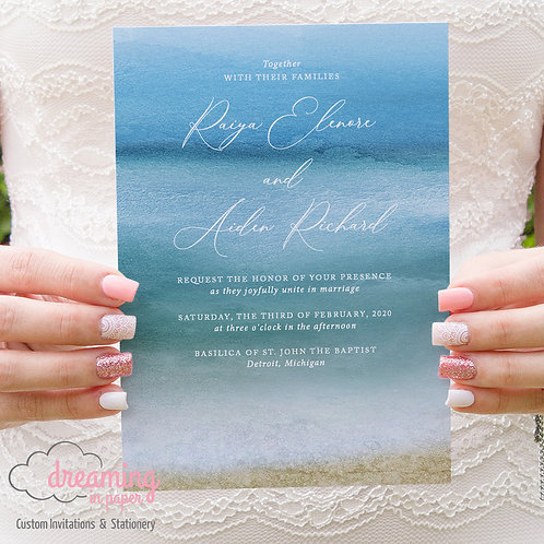 Beach Wedding, Beach Invitations, Ocean Invitation, Ocean Wedding, Ocean Watercolor, Ocean Painting, Beach Invite