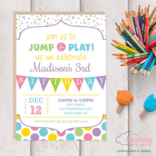 Jump and Play Birthday Invitations