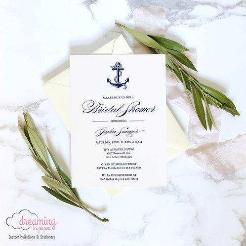 Nautical Anchor Navy and White Shower Invitation