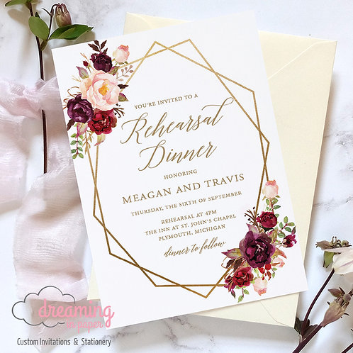 Boho Marsala Gold Geometric Rehearsal Dinner Invitation