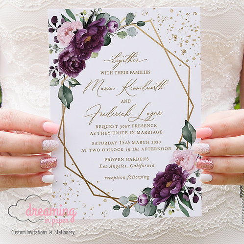Gold Geometric Purple Deep Velvet Confetti Wedding Invitations 285