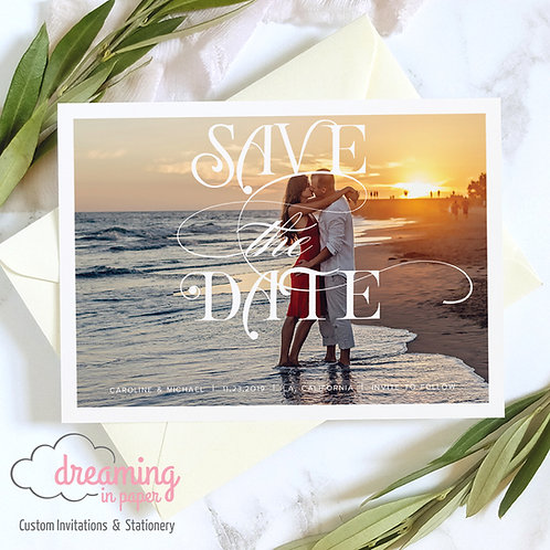 Chic Scroll Photo Save the Dates