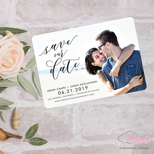 Modern Script Photo Save the Date - Rounded Corners