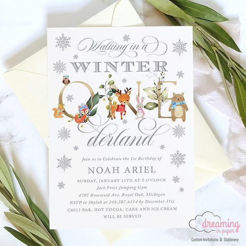 Winter ONEderland Woodland Animals Greenery Birthday Invitations