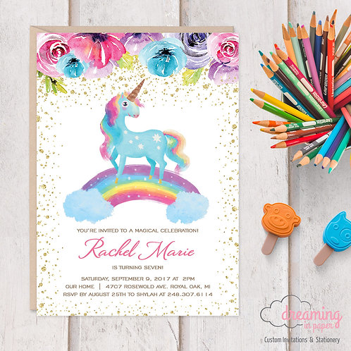 Rainbow Unicorn with Rainbow Flowers Birthday Invitation