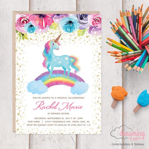 Rainbow Unicorn Birthday Invitations Invites Glitter