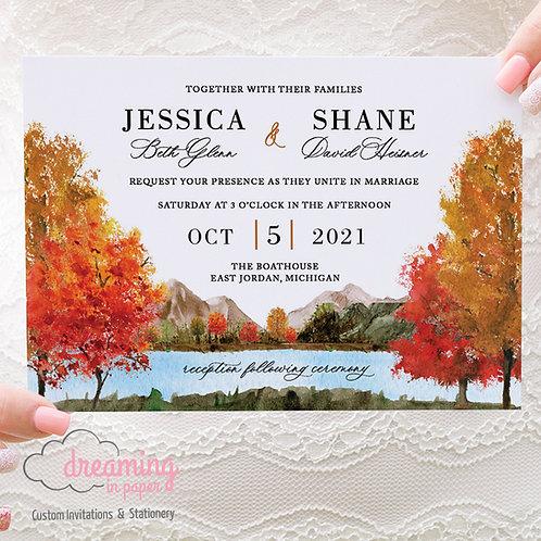 Vibrant Fall Landscape Wedding Invitations 443