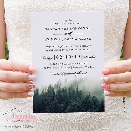 Rustic Pine Tree Forest Wedding Invitations 189